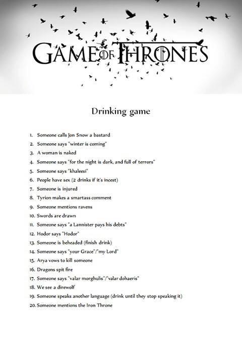 jeu à boire GOT